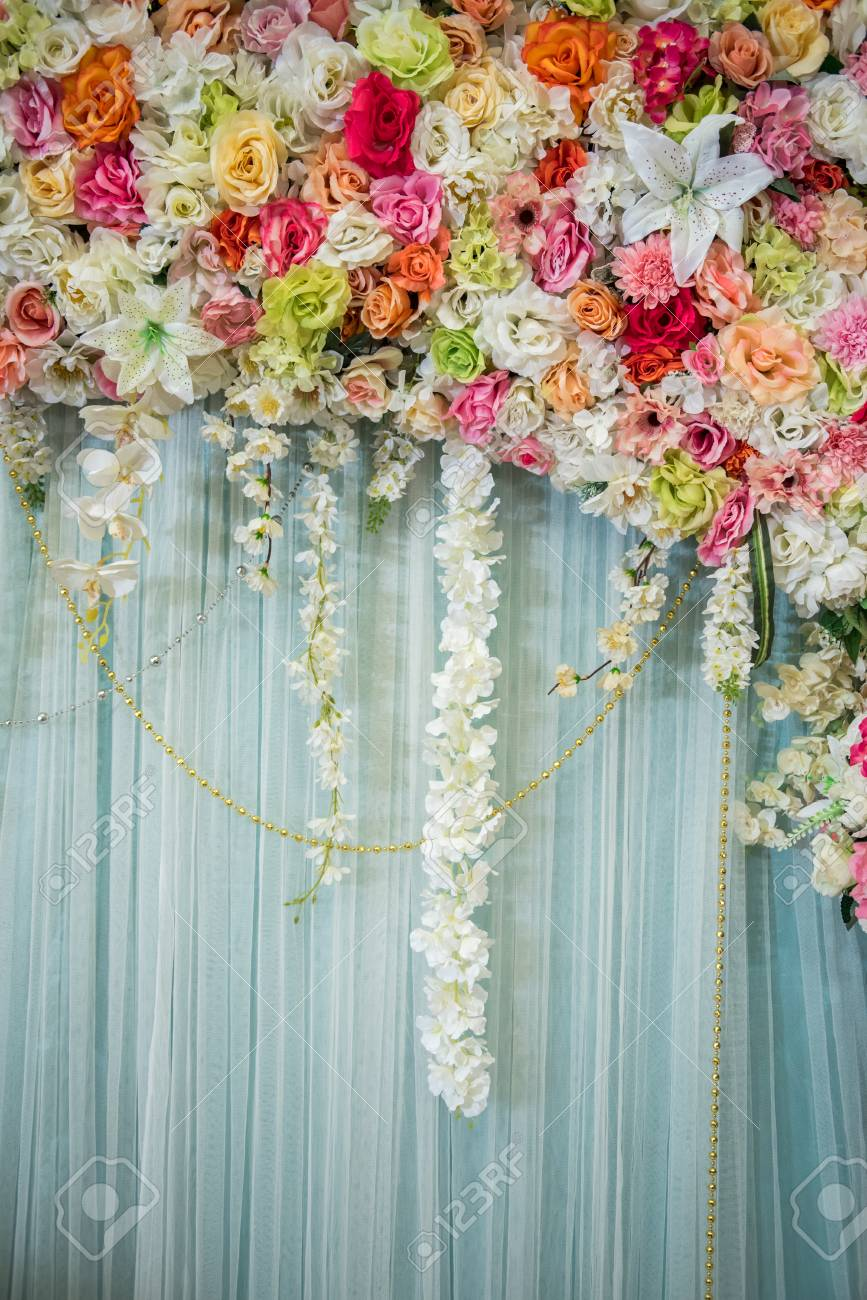 Beautiful Flower Wedding Decoration Colorful Flowers On Curtain