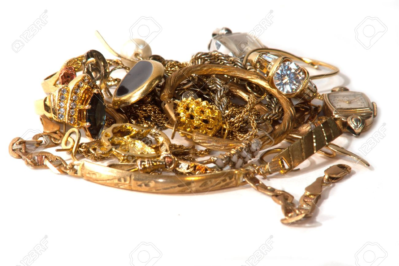 Pile Of Old Broken Gold Jewelry For Scrap Stock Photo Picture And