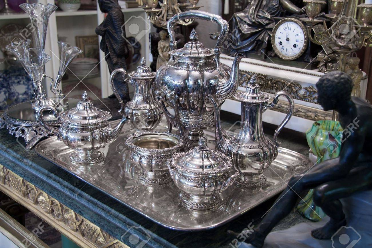 Vintage sterling silver Coffee Tea set displayed in antique store Stock Photo - 11699600