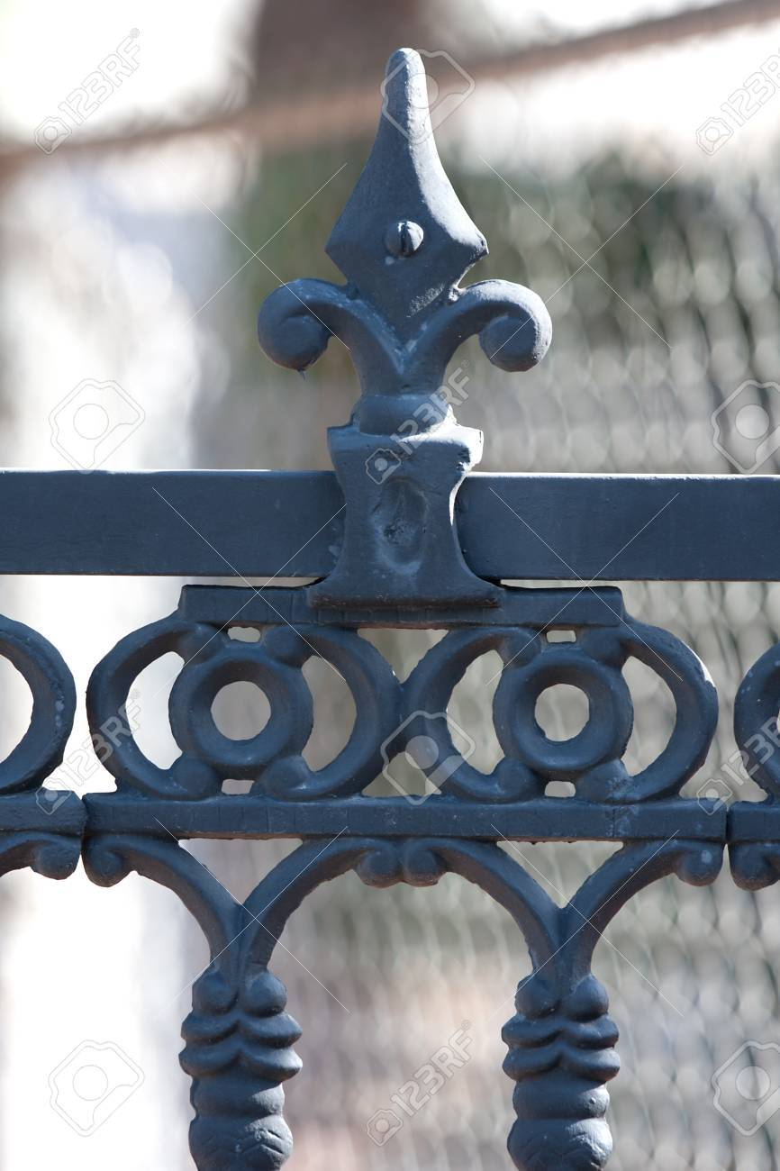 Rod iron fence in black on residential estate Stock Photo - 11930772