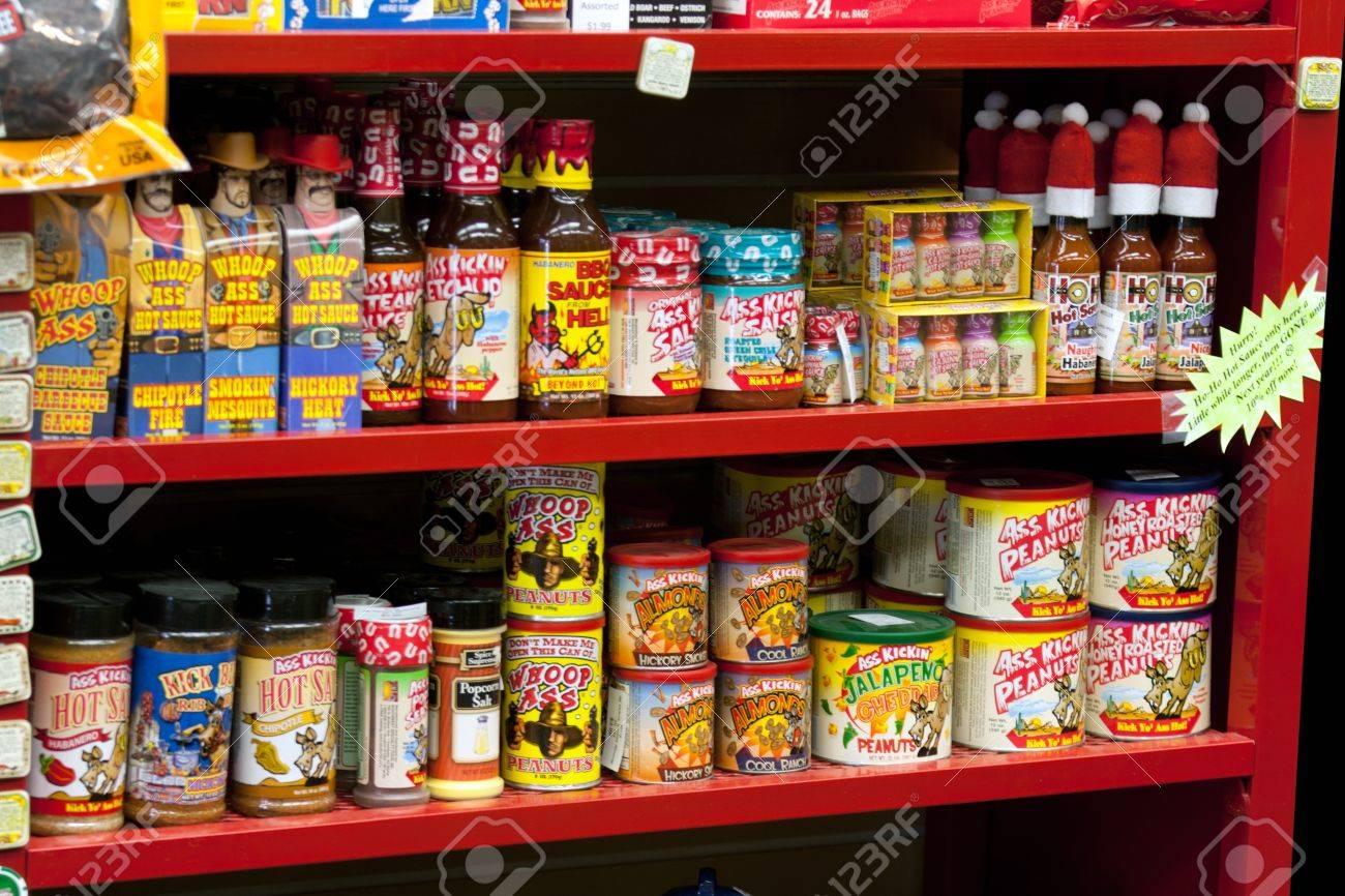 Assortment of hot sauce on store shelf Stock Photo - 11970769