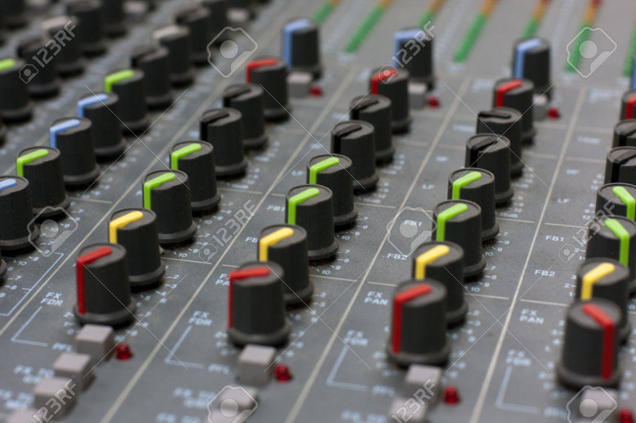 Audio mixer mixing board fader and knobs Stock Photo - 12232047