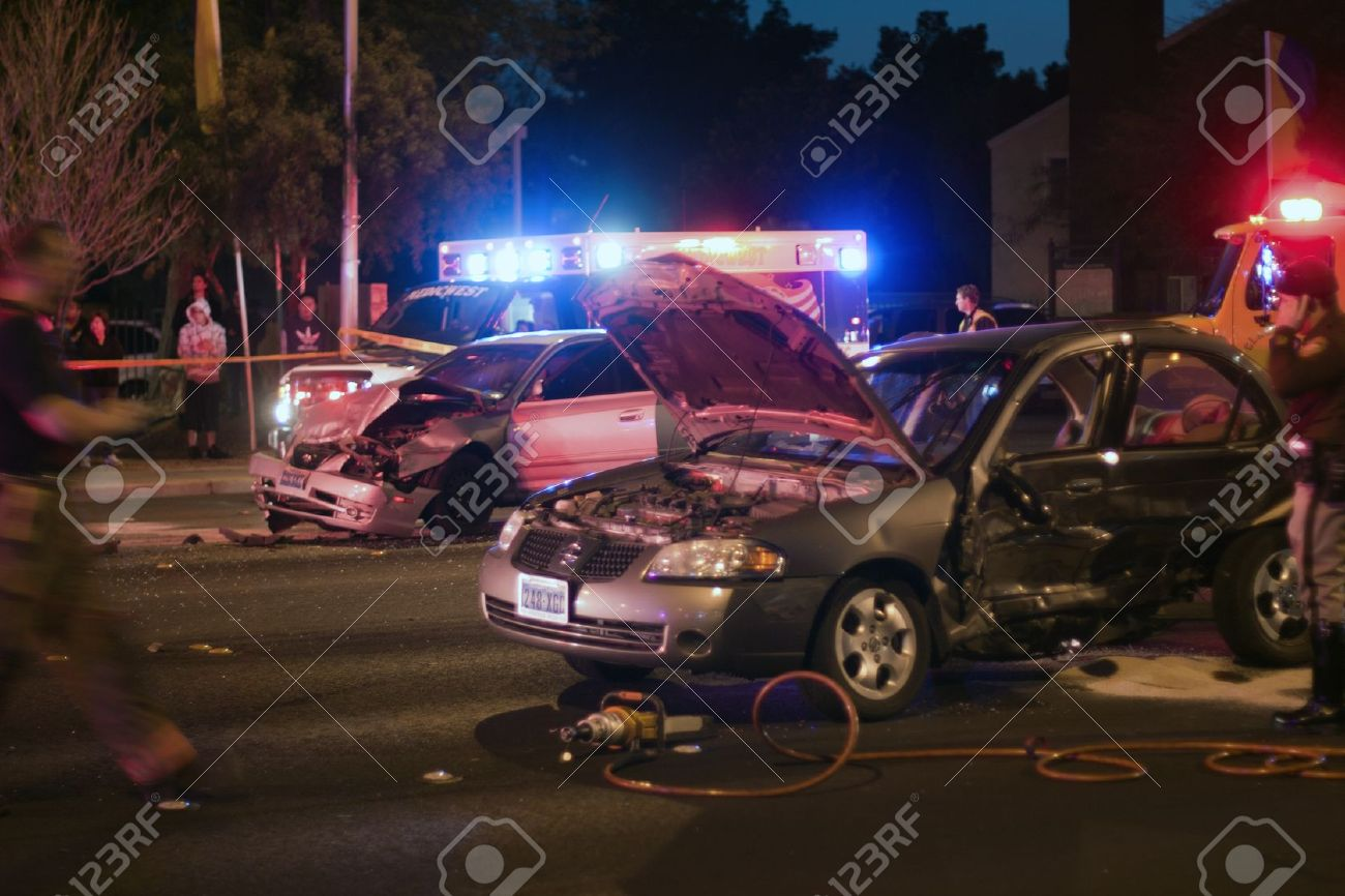 bad car accident by night with flashing lights stock photo 12385613
