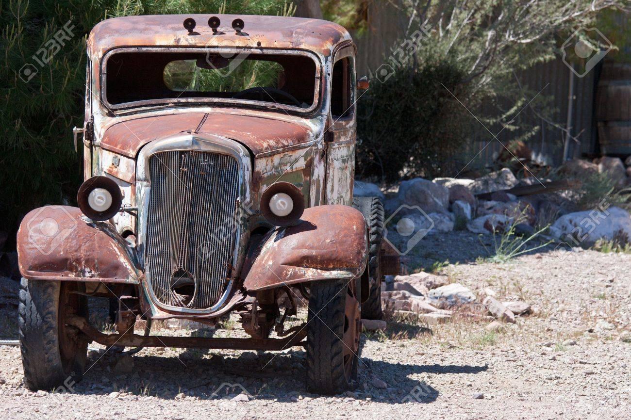 old junk car in the nevada desert in Nelson, Eldorado Canyon Stock Photo - 13455802