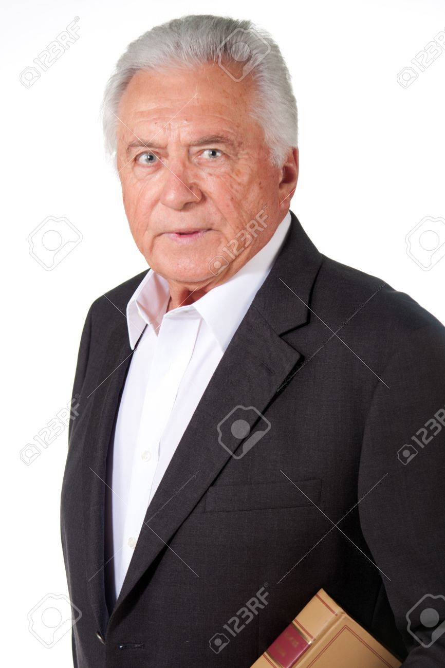 business man lawyer standing confident with book Stock Photo - 14410131