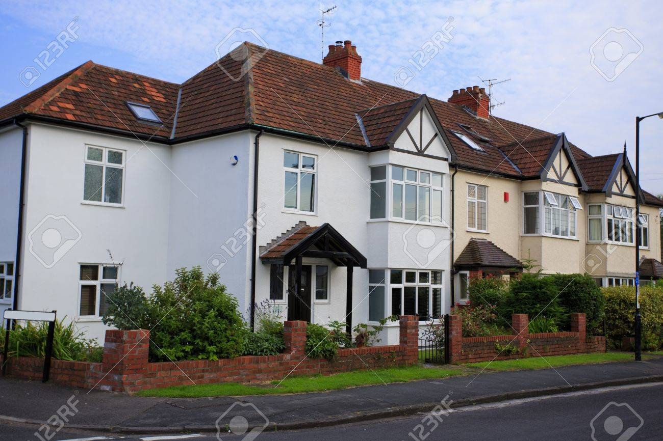 Stock Photo   Typical 1930s Semi Detatched House With Bay Window, In  Bristol, England