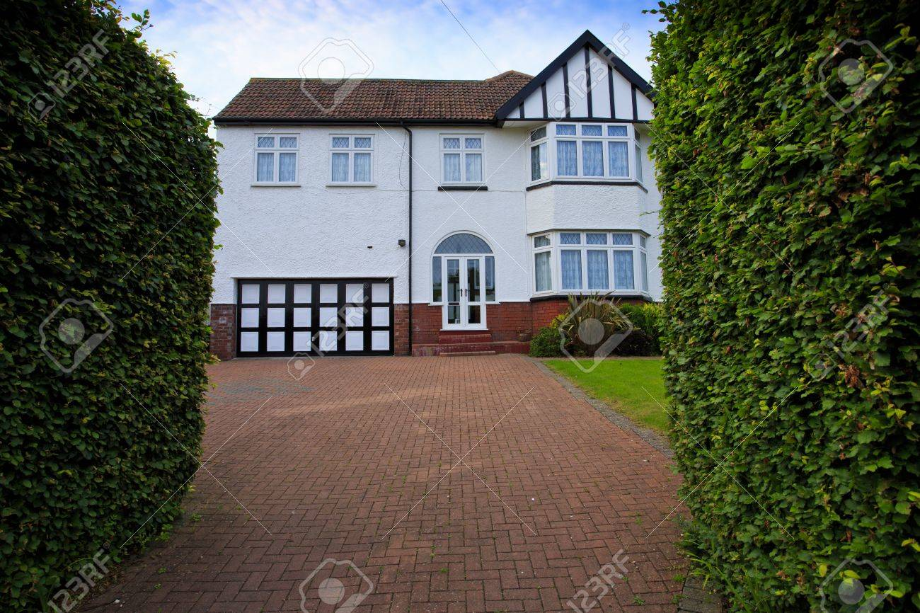 Stock Photo   Typical 1930s White Semi Detatched House With Bay Window And  Large Driveway, In Bristol, England