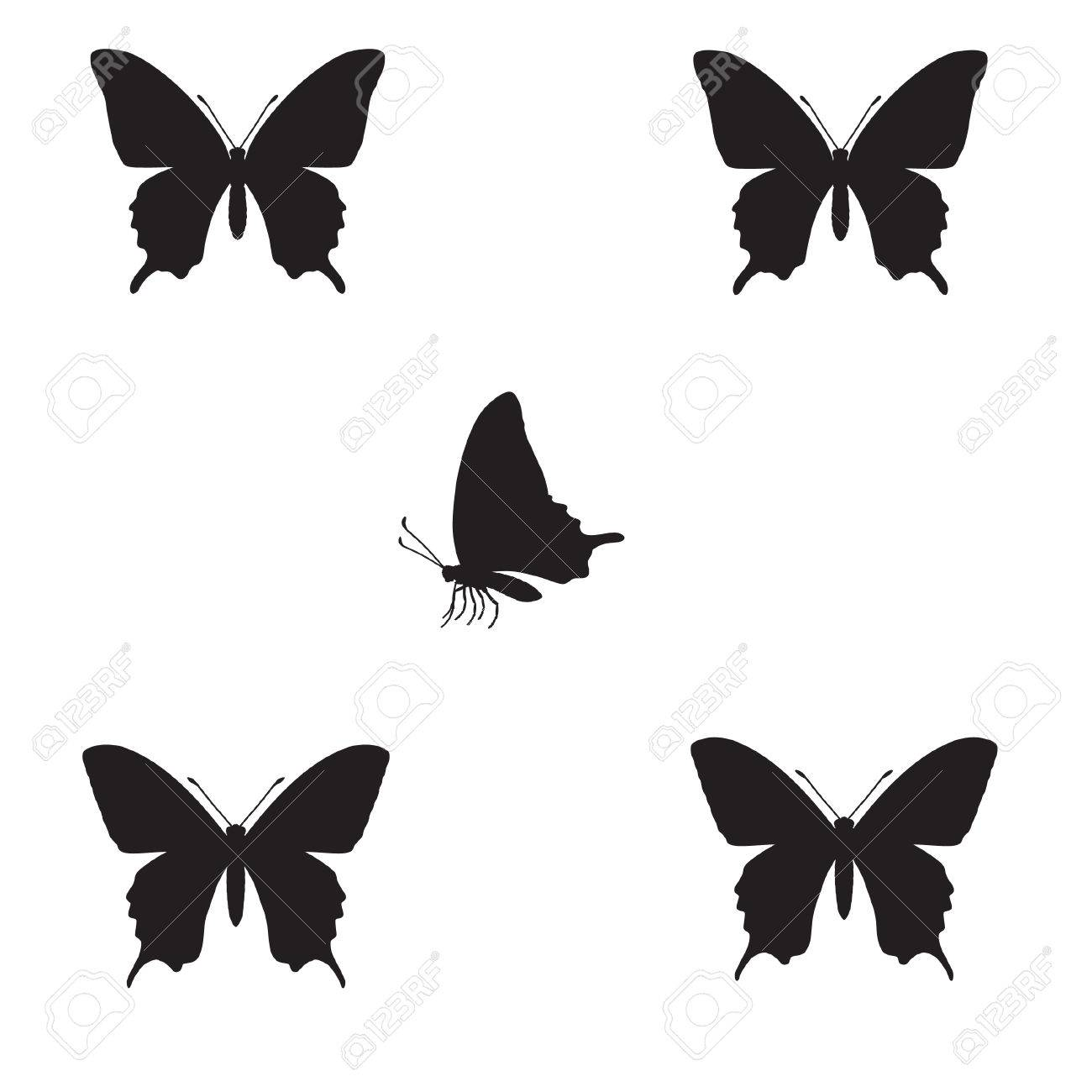 silhouette of butterfly on a white background.vector Stock Vector - 4821804