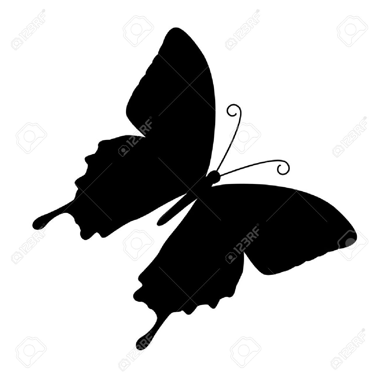 silhouette of butterfly on a white background.vector Stock Vector - 4821799
