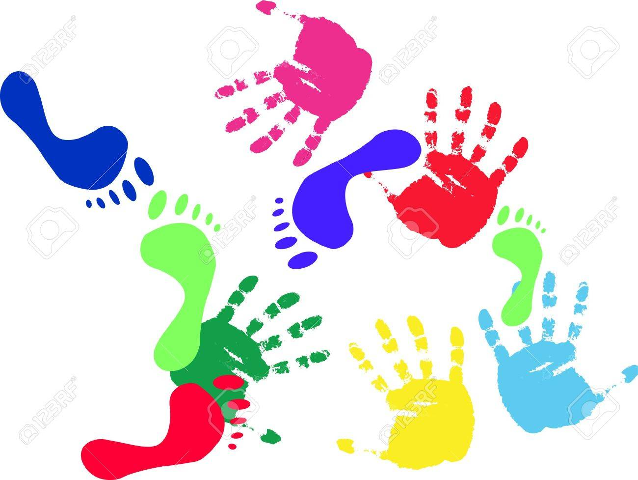 colour prints of feet and hands on a white backgroundvector stock photo 5266184 - Colour Pictures To Print