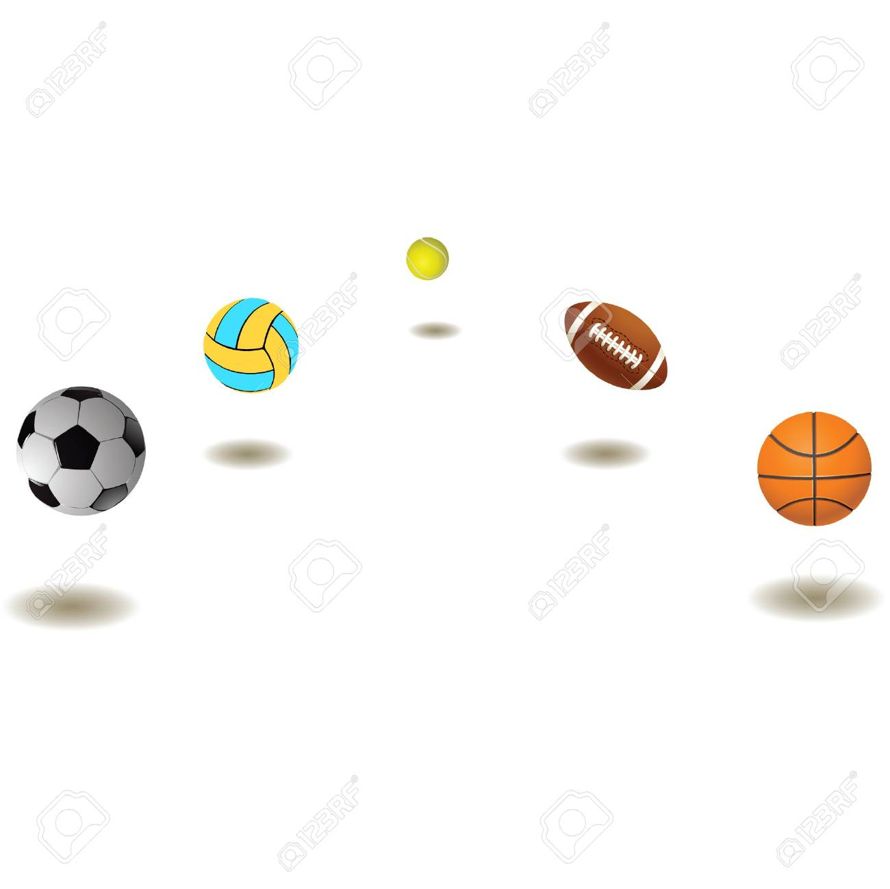Five different balls on a white background.vector Stock Photo - 5422511