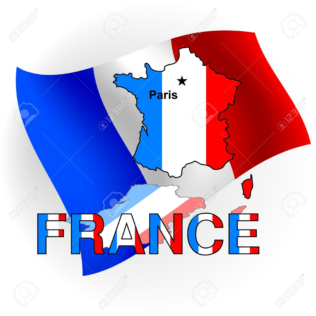 France Map Flag.France Map In The Form Of The French Flag Against A Flag Stock
