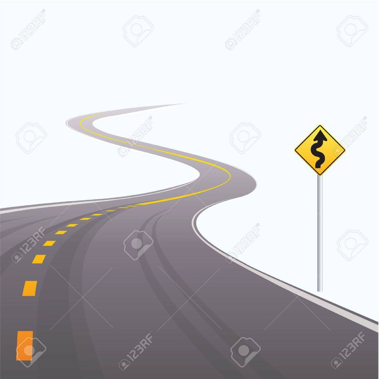 The asphalted road leaving in a distance on a white background Stock Vector - 10422238