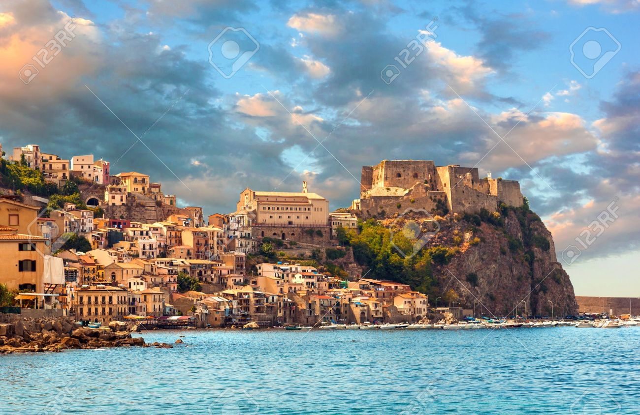 Scilla, Castle on the rock in Calabria during sunset, Italy - 18118885
