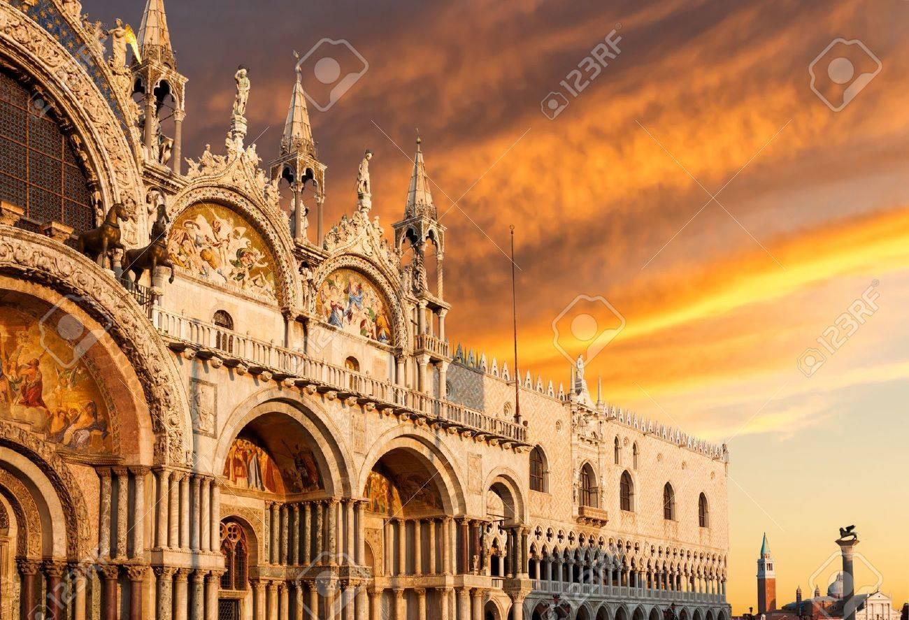 Basilica Di San Marco With Dramatic Sunset, Venice, Italy Stock ...