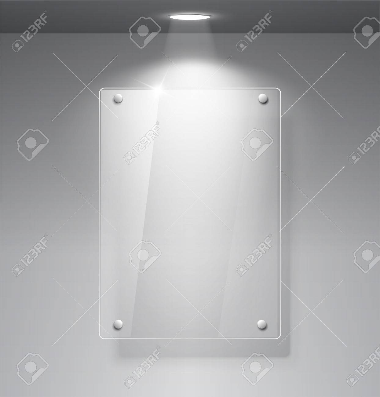 Realistic Empty Glass Frame On A Wall With Lights For Images.. Stock ...