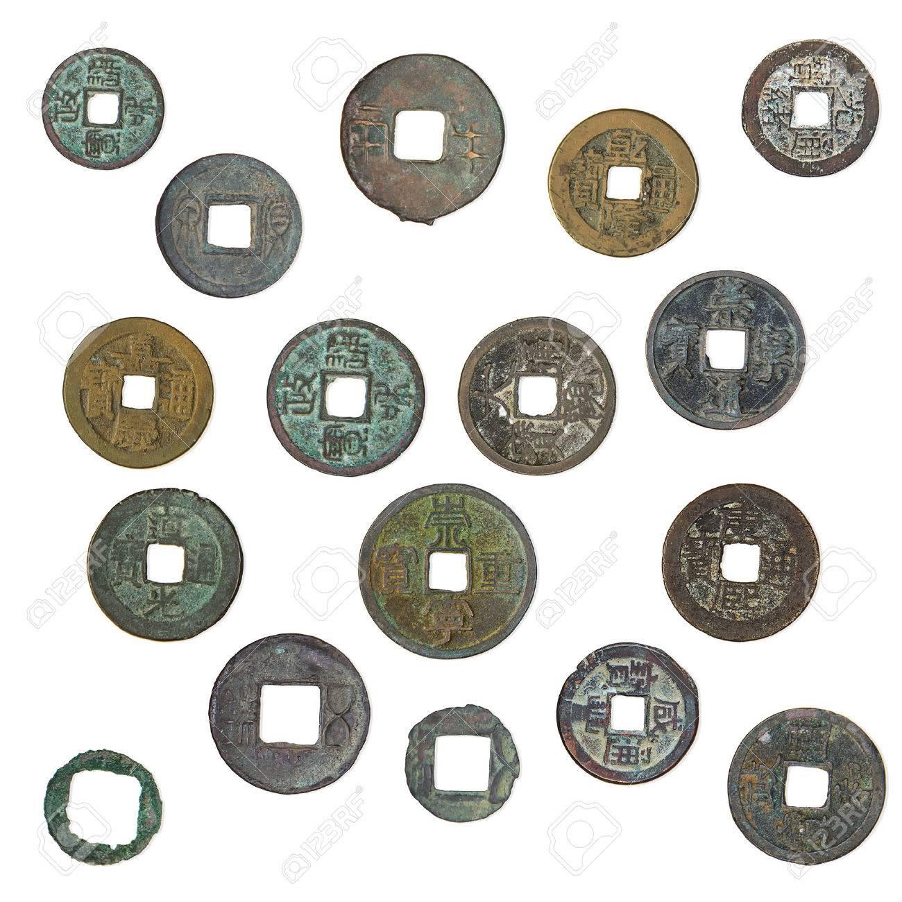 Alt Oxidiert Chinesische Münzen 1400 1900 Jahre Lokalisiert Auf