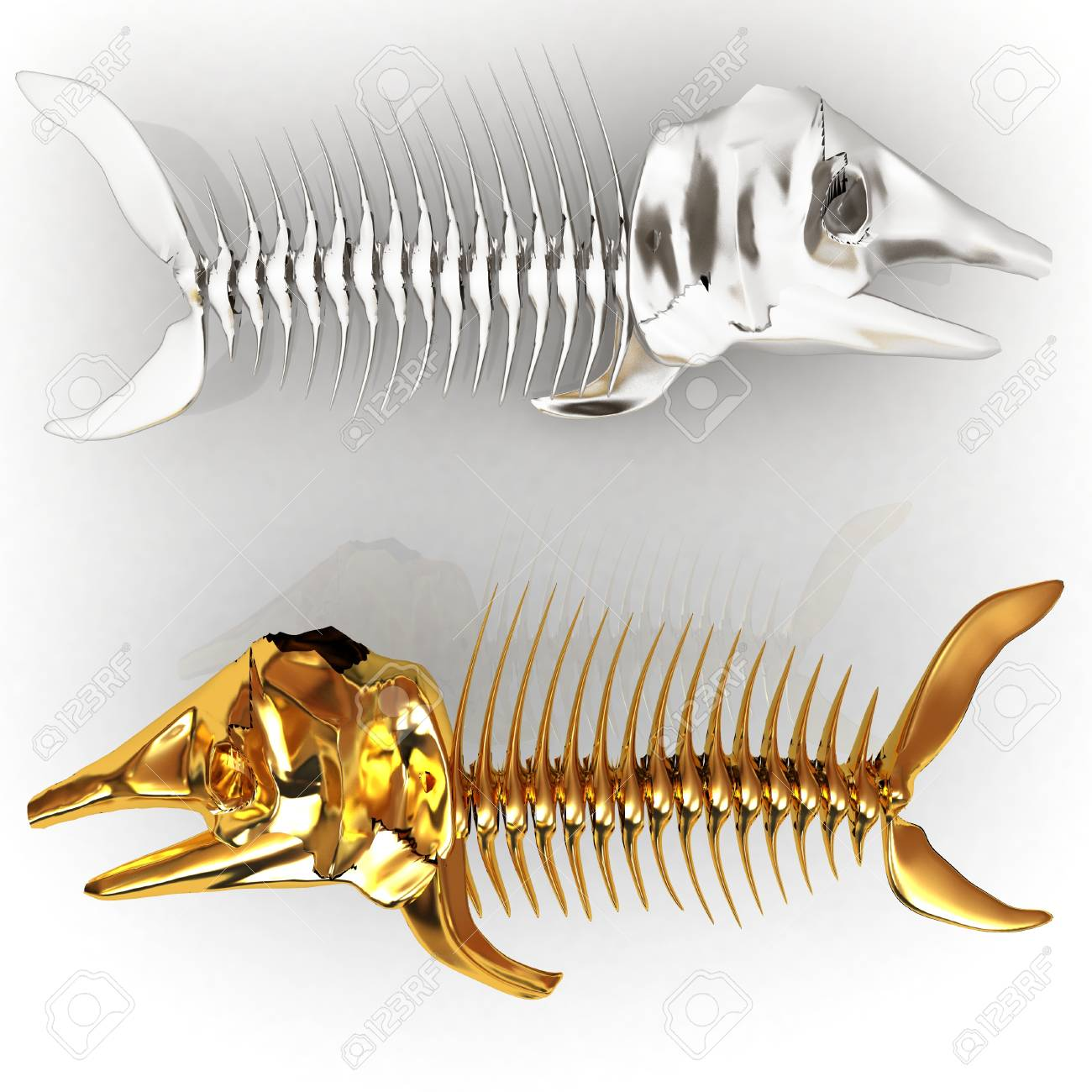 3d metall illustration of fish skeleton on a white background Stock Illustration - 27237601