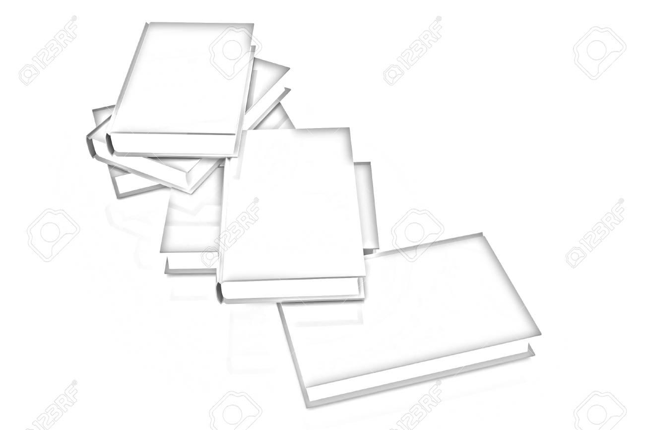Verdaderos Libros De Colores Sobre Un Fondo Blanco. Dibujo A Lápiz ...