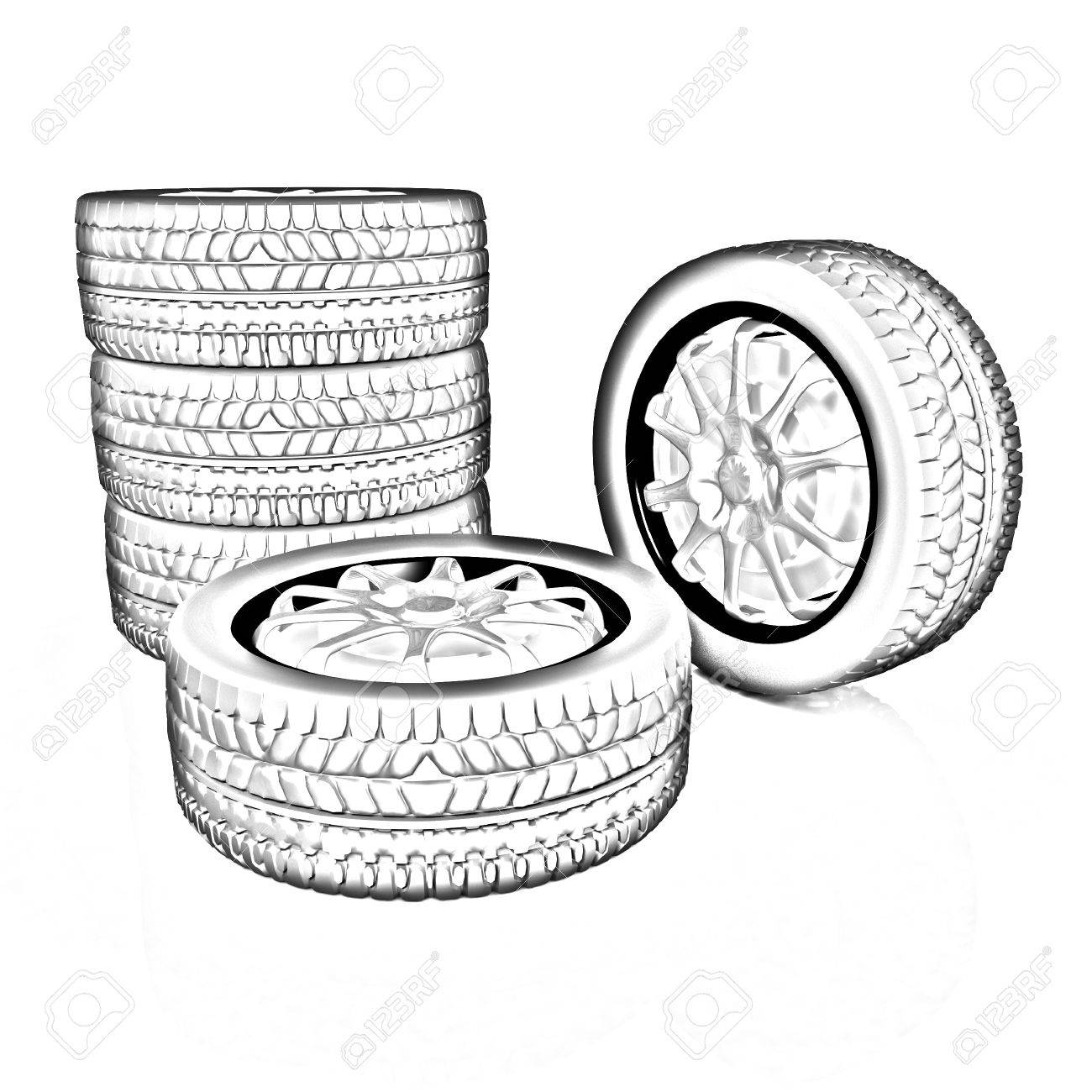 Car Wheel Illustration On White Background Pencil Drawing Stock Photo Picture And Royalty Free Image Image 32047969