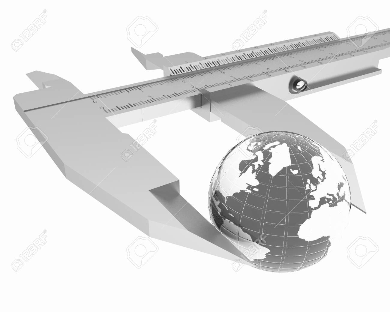 Vernier Caliper Measures The Earth Global 3d Concept On A White Diagram Stock Photo Background