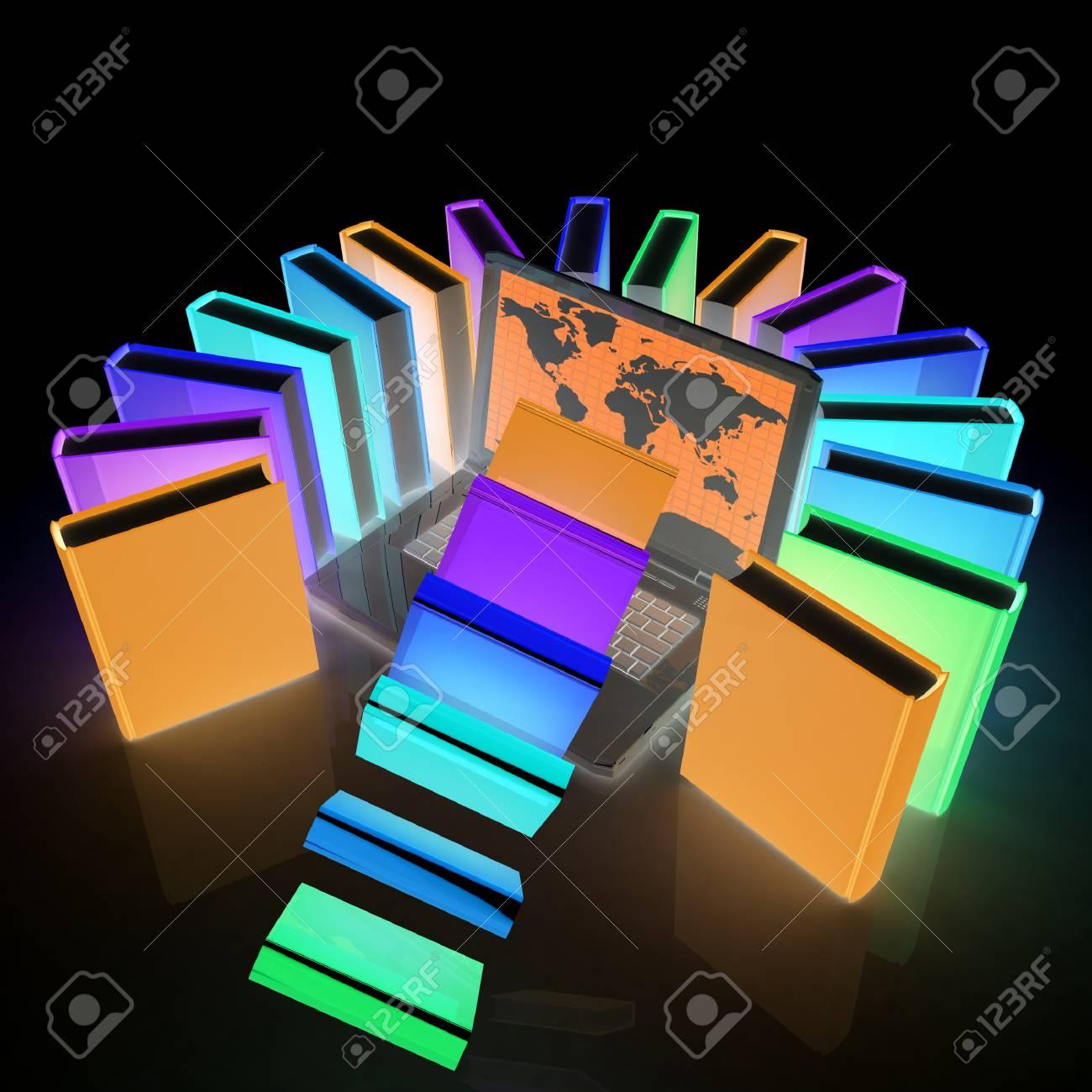 Libros Volar Y Un Ordenador Portátil De Colores Sobre Un Fondo ...