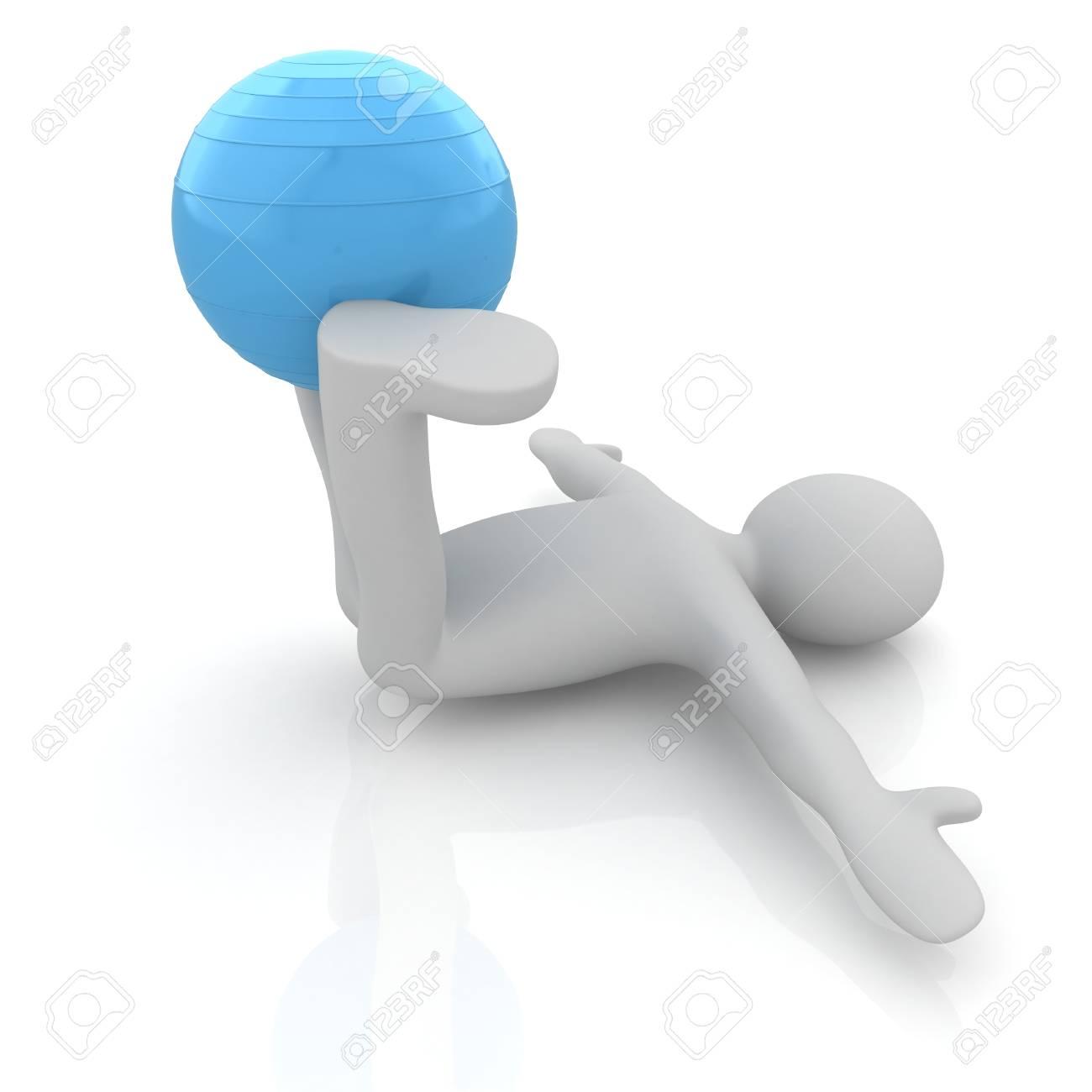 3d man position sur ballon de fitness exercice. ma plus grande série