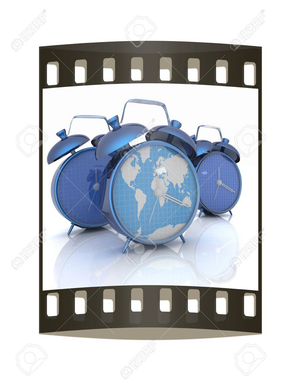 Alarm clock of world map and alarm clocks the film strip stock alarm clock of world map and alarm clocks the film strip stock photo 39829970 gumiabroncs Images