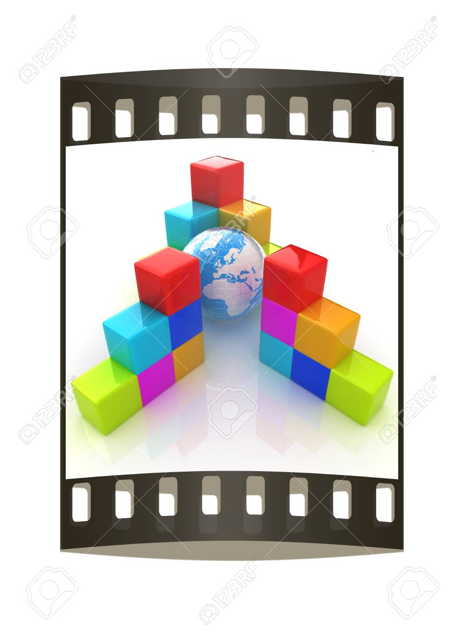 Colorful Block Diagram Global Concept The Film Strip Stock Photo