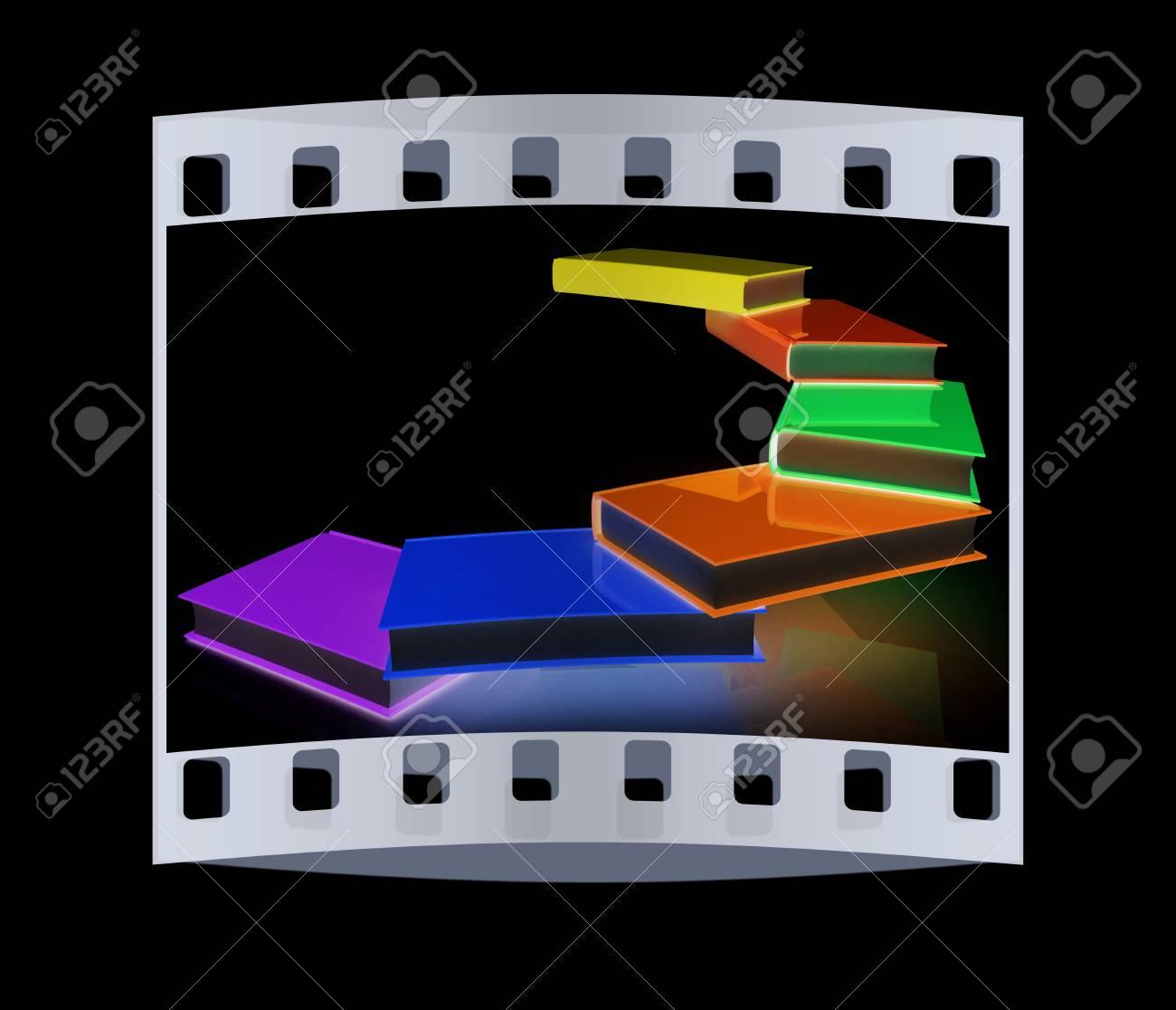 Libros Verdaderos Colores Sobre Un Fondo Negro. La Tira De Película ...