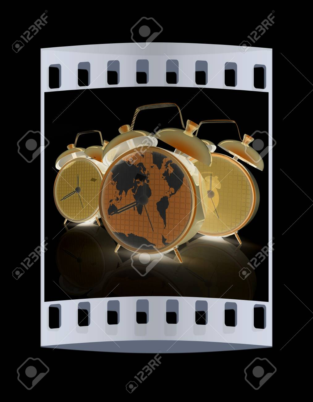 Alarm clock of world map and alarm clocks the film strip stock alarm clock of world map and alarm clocks the film strip stock photo 45090333 gumiabroncs Image collections