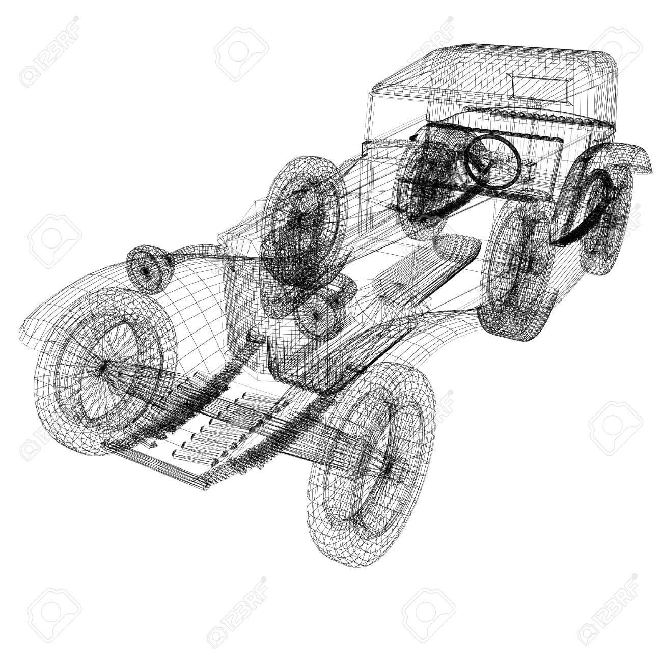 3d model retro car stock photo - 45815759