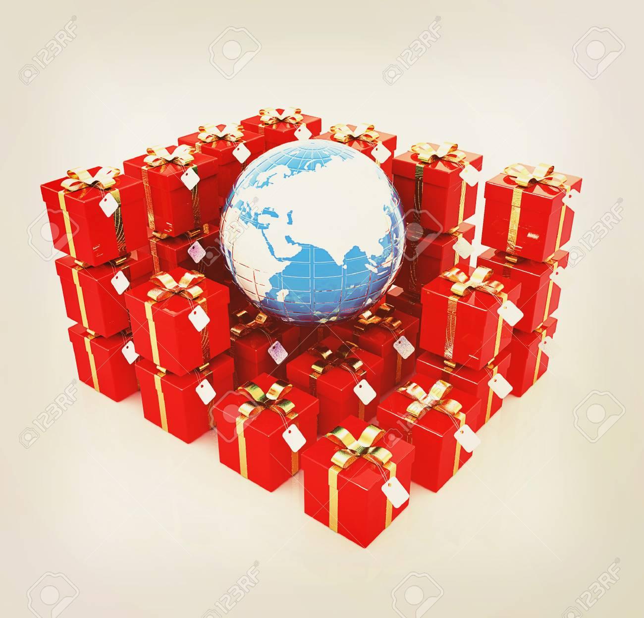 Traditionelle Weihnachtsgeschenke.Traditionelle Weihnachtsgeschenke Und Erde Auf Einem Weißen
