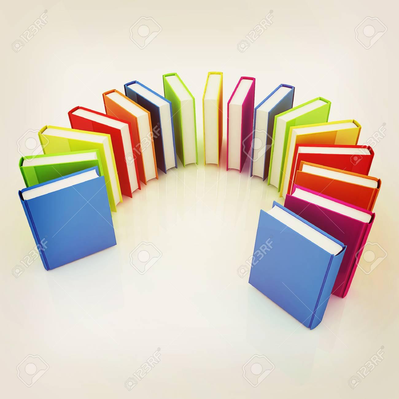 Libros Verdaderos Colores Sobre Un Fondo Blanco. Ilustración 3D ...
