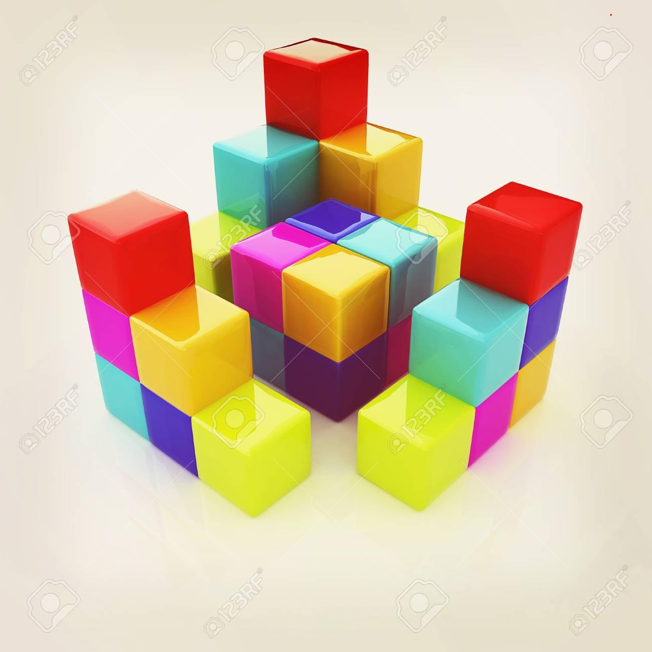 Colorful Block Diagram. 3D Illustration. Vintage Style. Stock Photo [ 1300 x 1300 Pixel ]