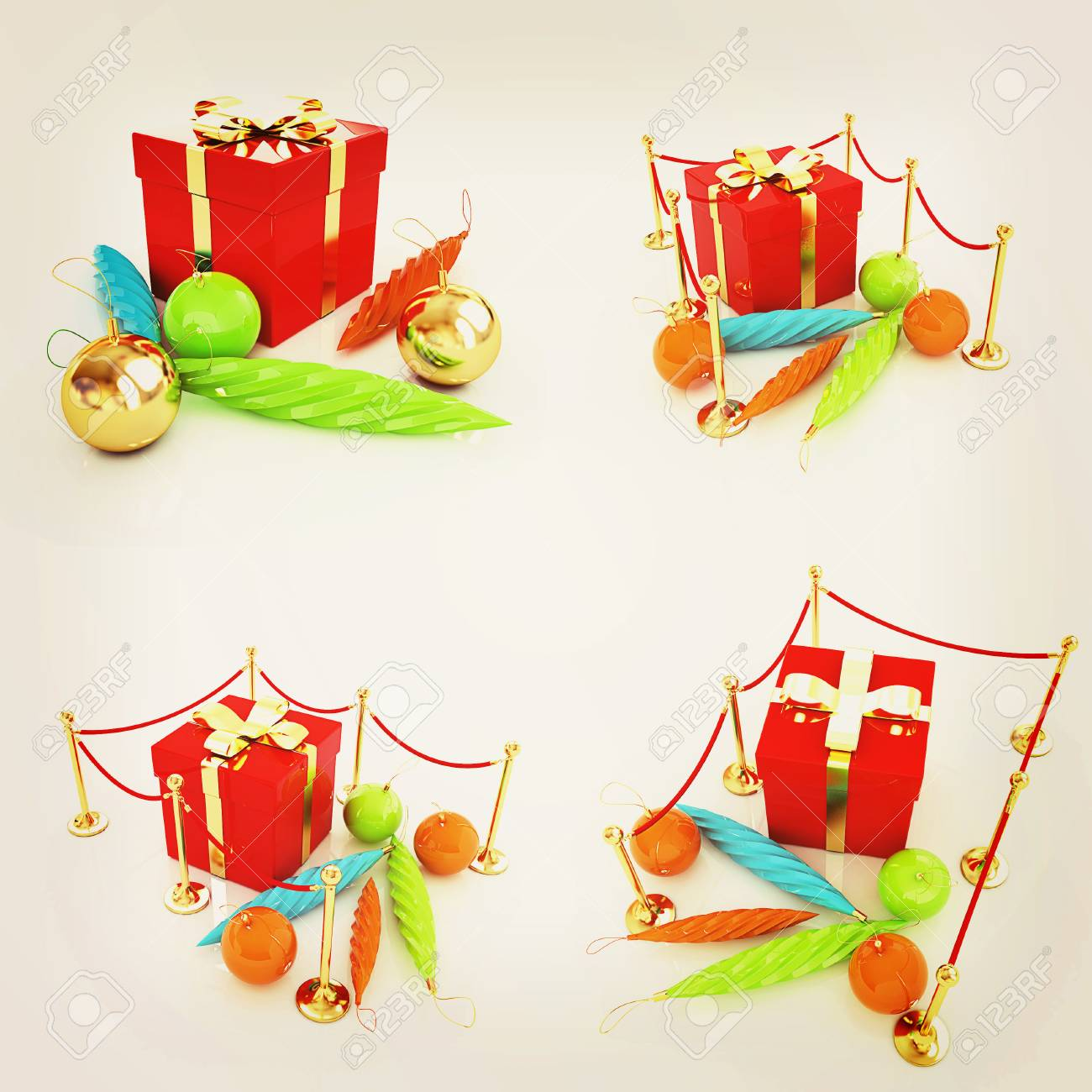 Set Of Beautiful Christmas Gifts. 3D Illustration. Vintage Style ...