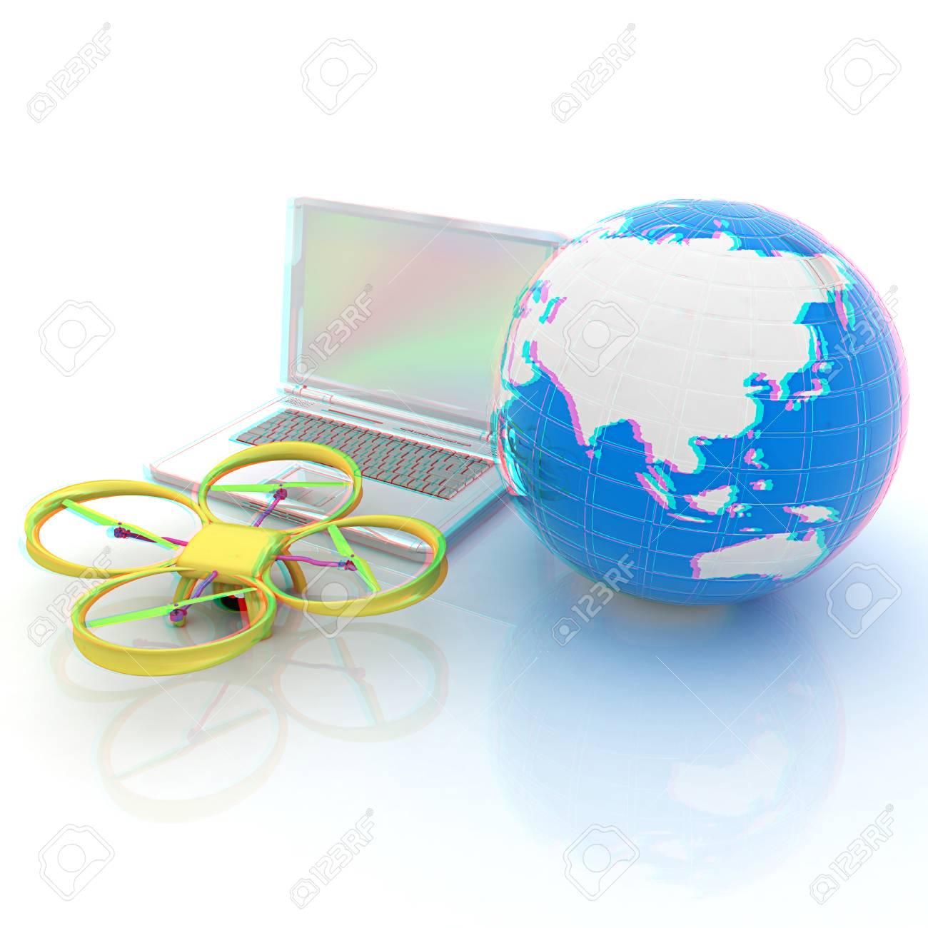 Red, En Línea, Compra, Compras Por Internet, Casa Inteligente.  Procesamiento 3d. Anáglifo. Ver Con Gafas De Color Rojo / Cian Para Ver En  3D.
