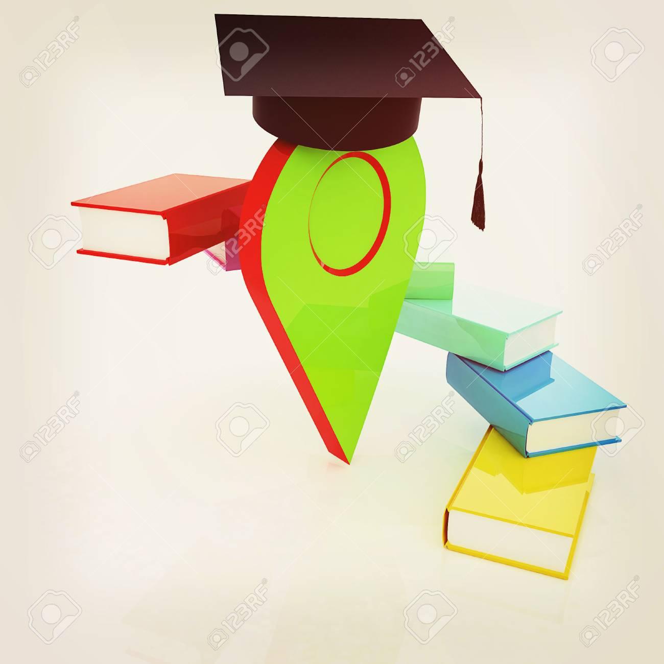 Zeiger Der Ausbildung Im Abschlusshut Mit Büchern Herum 3d