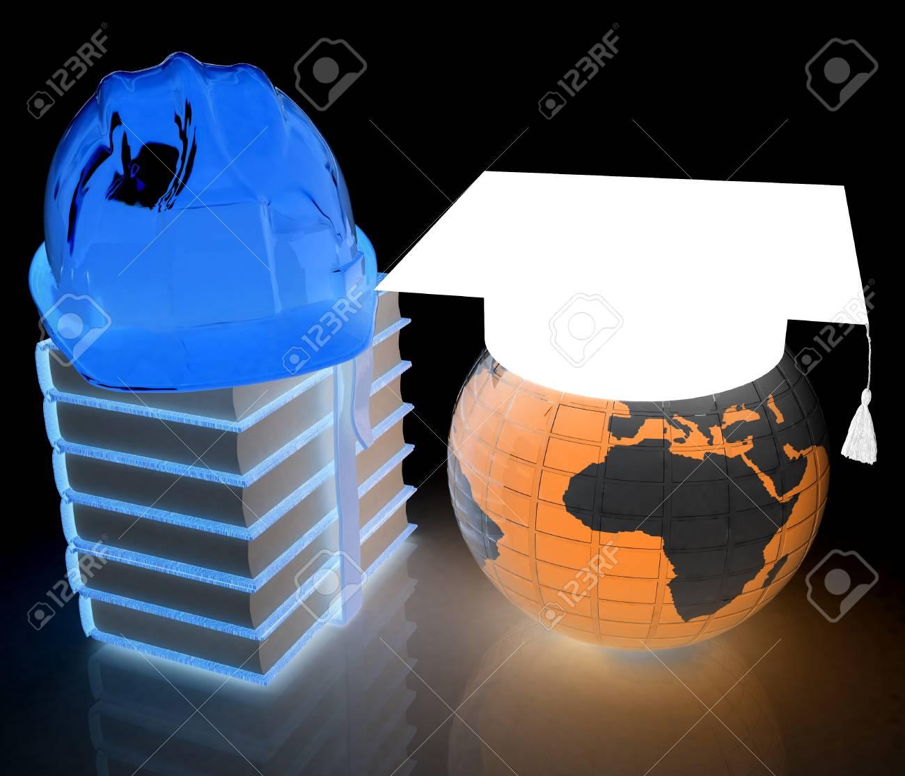 Earth, book, hard hat and graduation hat  Global edication and
