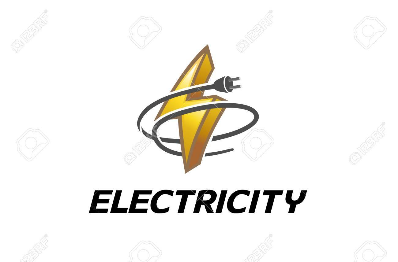 Electricity Symbol Logo Design Illustration - 90399188