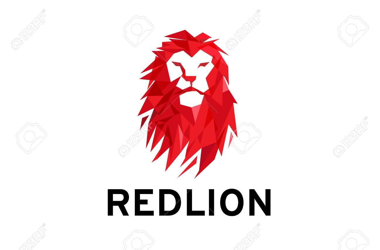 red lion head logo design illustration stock vector 90399211