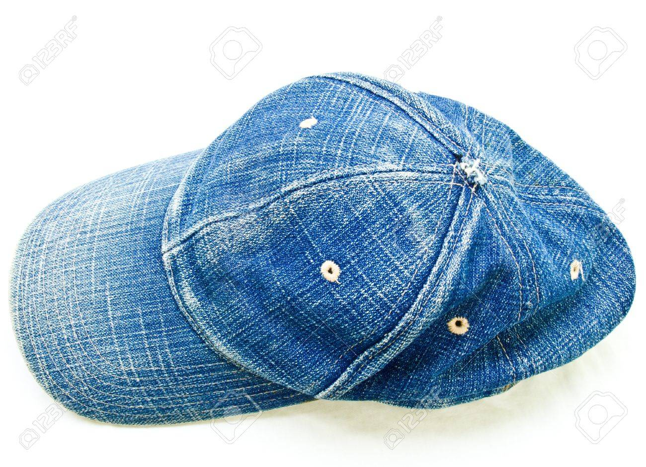 Stock Photo - Top view of used blue jean cap isolated on white background 91a27e3a6de
