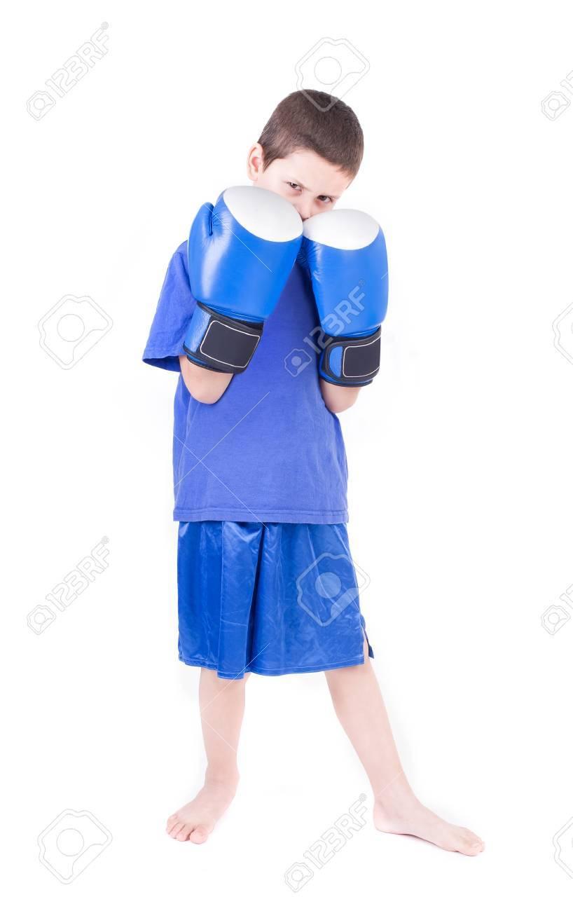 Kick boxing kid  Isolated on a white background  Studio shot Stock Photo - 27977428