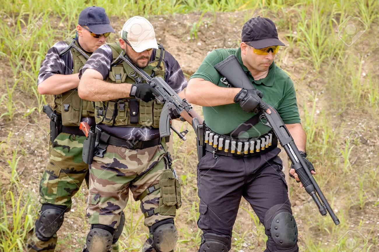 Men in Tactical Training, Shooting in Weapons Outdoor Shooting