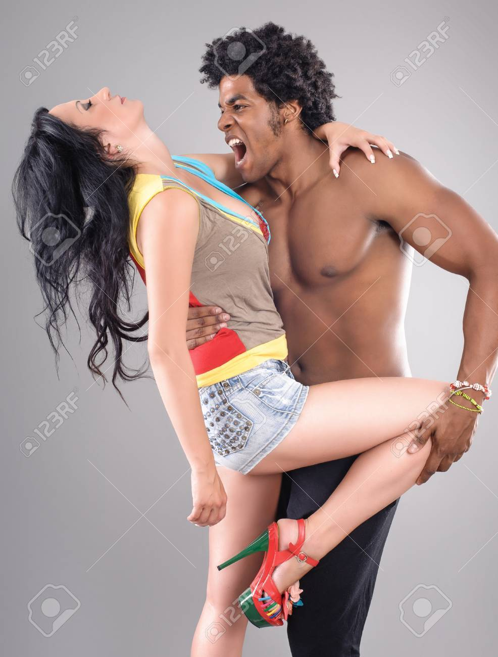 Passionate Couple Young And Sexy Passionate Couple On Gray Studio Background Stock Photo 41233717
