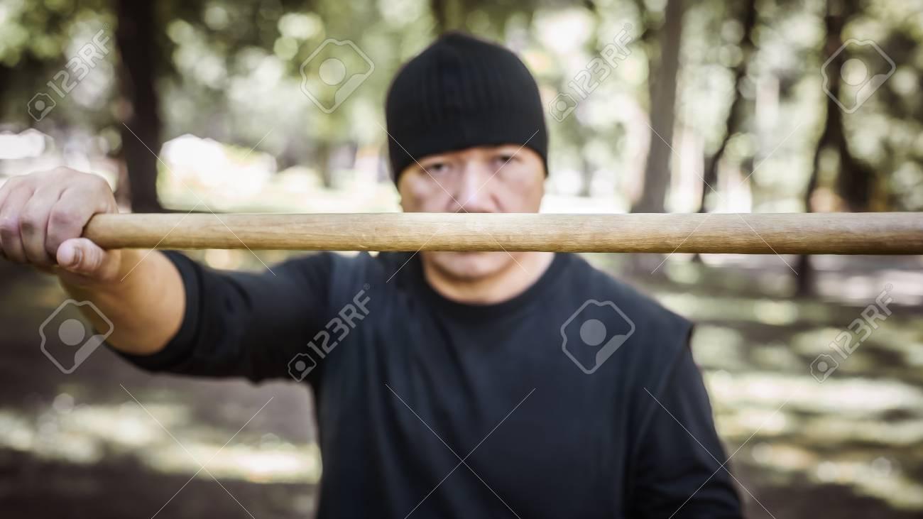 lameco astig combatives instructor demonstrates single stick stock