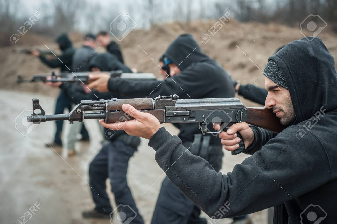 Large team, group of civilian people have action training with
