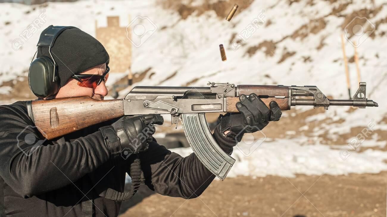 Civilian shooting training from rifle machine gun on outdoor
