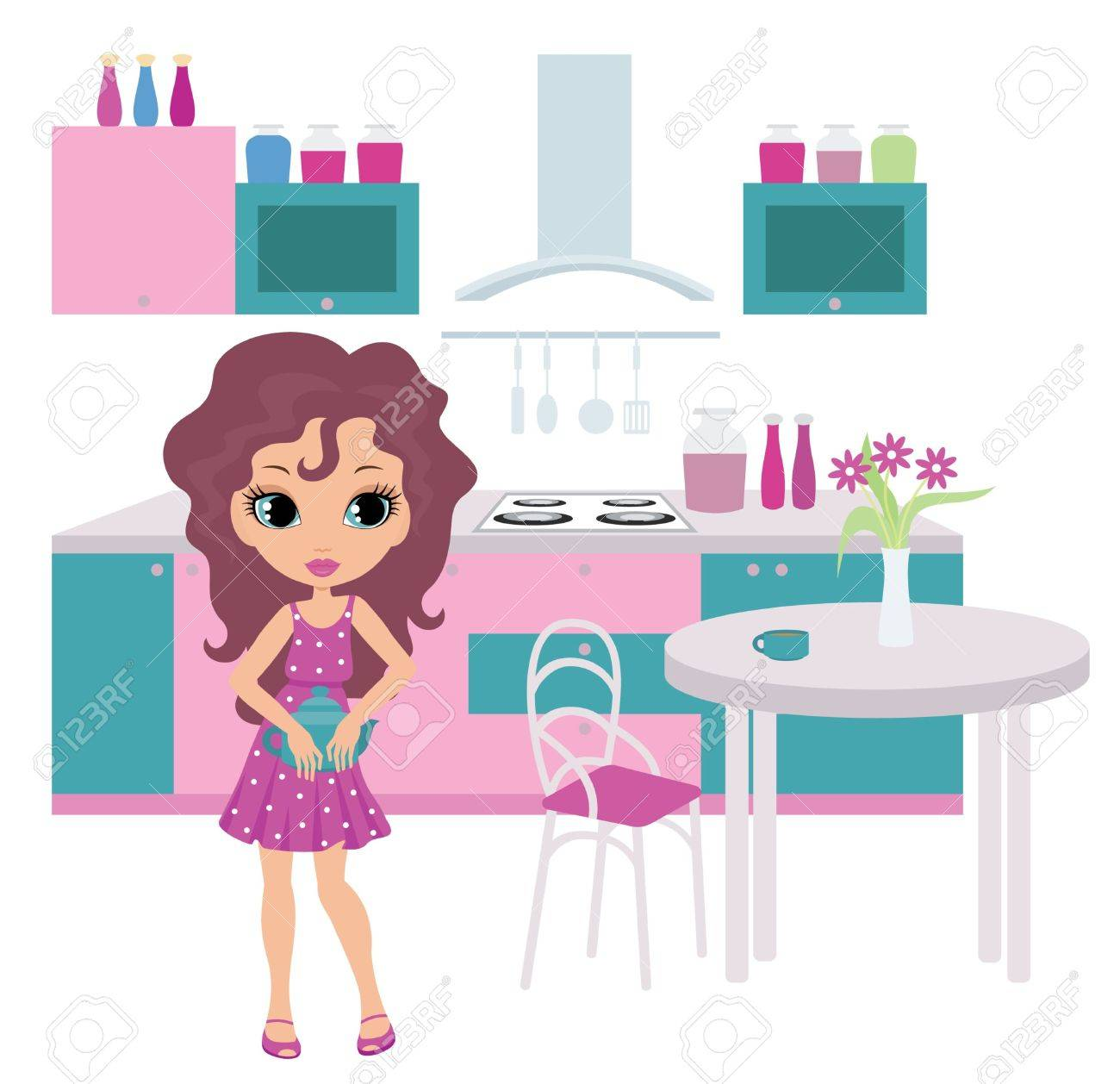 Cartoon girl on kitchen bears a teapot. Stock Vector - 10831714