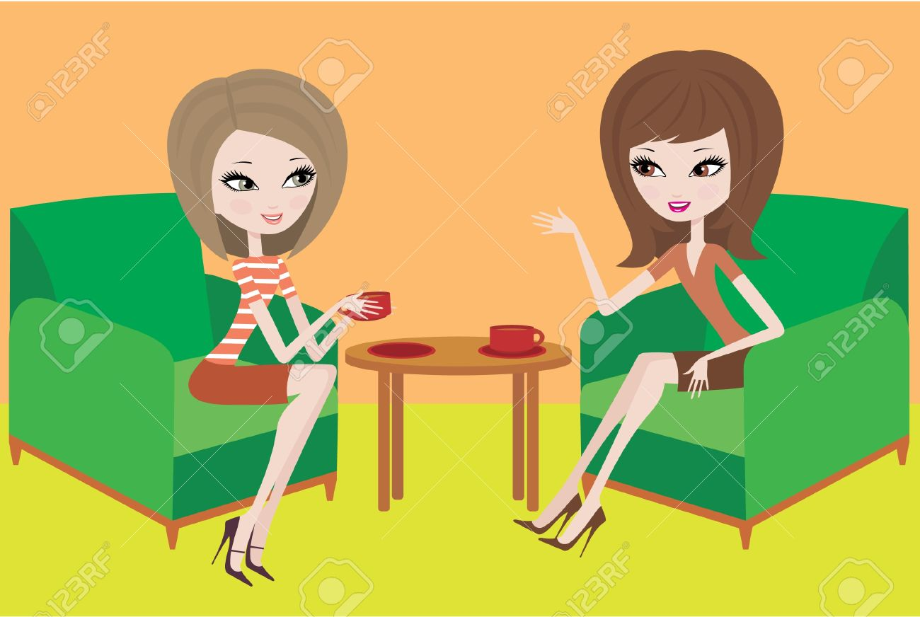 Two young women talk in armchairs. Stock Vector - 10831712